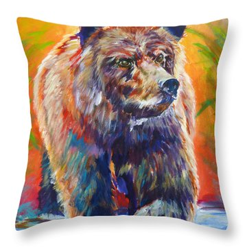 Throw Pillow featuring the painting Going Fishing by P Maure Bausch