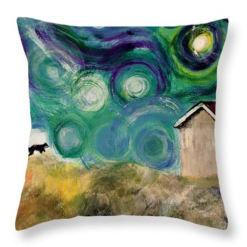 Throw Pillow featuring the painting Going Home by Maja Sokolowska