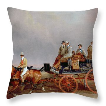 Going Shooting A Postillion And Pair With A Game Cart Throw Pillow by Charles Cooper Henderson