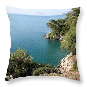 Throw Pillow featuring the photograph Gokova Korfezi Akyaka by Tracey Harrington-Simpson