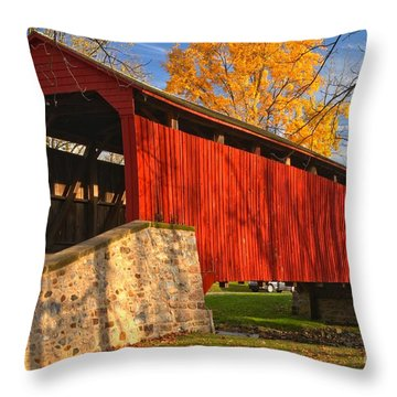 Gold Above The Poole Forge Covered Bridge Throw Pillow