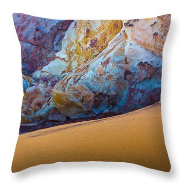 Gold And Blue Throw Pillow by Edgar Laureano