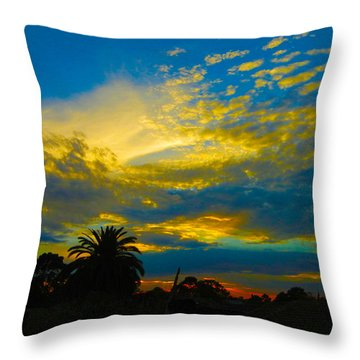 Gold And Blue Sunset Throw Pillow