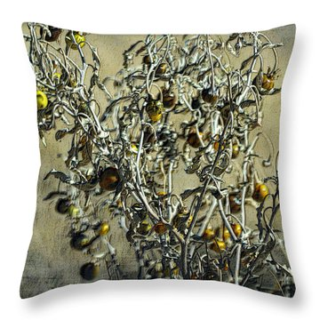 Throw Pillow featuring the photograph Gold And Gray - Silver Nightshade by Nadalyn Larsen