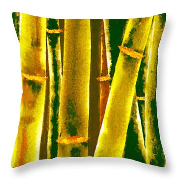 Gold Bamboo Throw Pillow