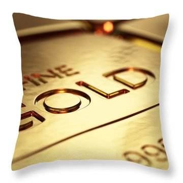 Gold Bars Close-up Throw Pillow