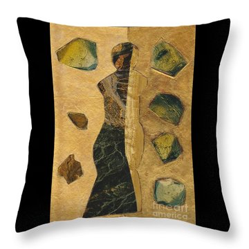 Gold Black Female Throw Pillow by Patricia Cleasby