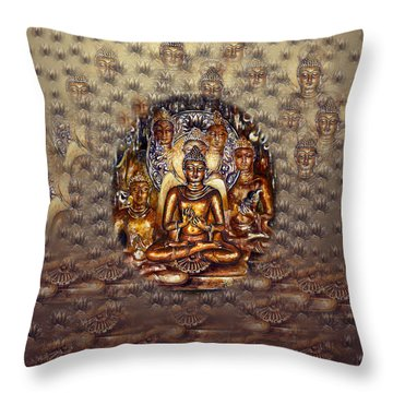 Gold Buddha Throw Pillow