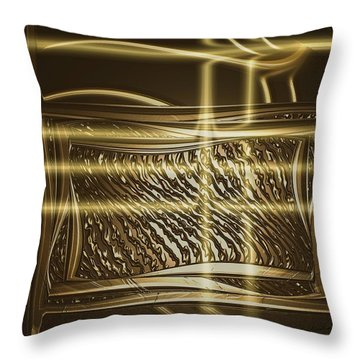 Gold Chrome Abstract Throw Pillow
