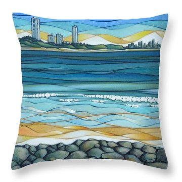 Throw Pillow featuring the painting Gold Coast 180810 by Selena Boron