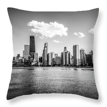 Gold Coast Skyline In Chicago Black And White Picture Throw Pillow by Paul Velgos