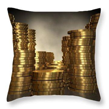 Gold Coin Stacks Throw Pillow by Allan Swart