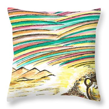 Gold Coins At The End Of  Rainbows Throw Pillow