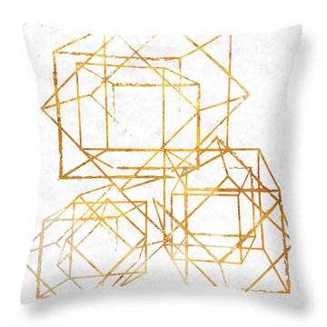 Gold Cubed I Throw Pillow