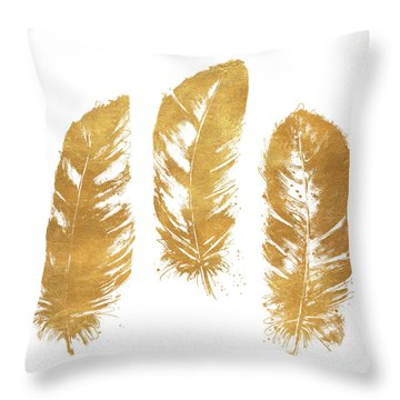 Gold Feather Square Throw Pillow