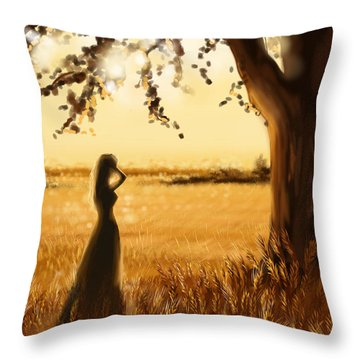 Gold Field Throw Pillow by Veronica Minozzi