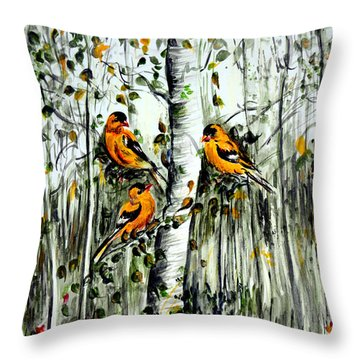 Gold Finches Throw Pillow