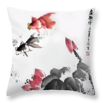 Gold Fish In Lotus Pond Throw Pillow by Yufeng Wang