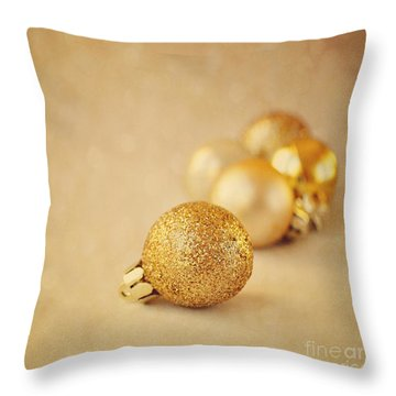 Gold Glittery Christmas Baubles Throw Pillow by Lyn Randle