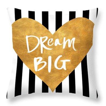 Gold Heart On Stripes I Throw Pillow