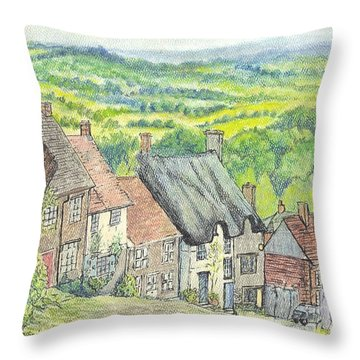 Gold Hill Shaftesbury Dorset England Throw Pillow by Carol Wisniewski