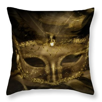 Gold In The Mask Throw Pillow