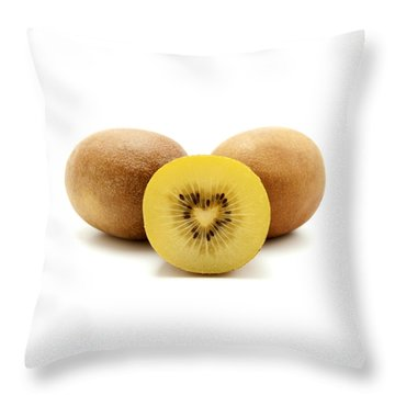 Gold Kiwifruit Throw Pillow by Fabrizio Troiani