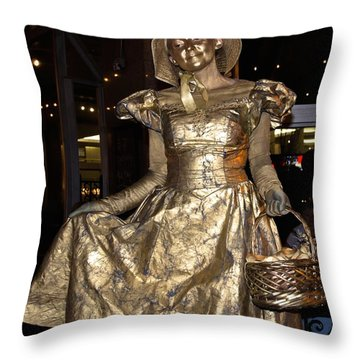 Gold Lady Throw Pillow by Lori Miller