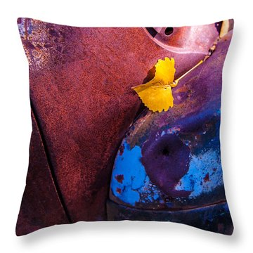Gold Leaf And Patina Color Throw Pillow
