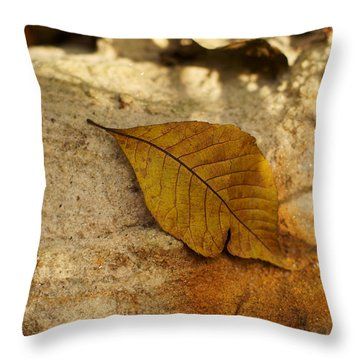 Throw Pillow featuring the photograph Gold Leaf by Jane Eleanor Nicholas
