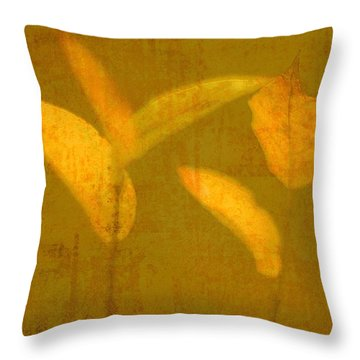 Gold Leaves Throw Pillow by Suzanne Powers