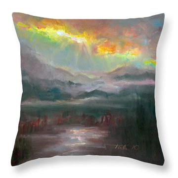 Gold Lining - Chugach Mountain Range En Plein Air Throw Pillow by Talya Johnson