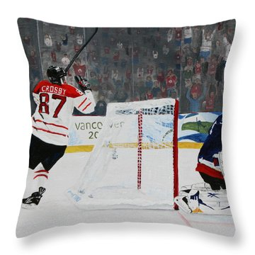 Gold Medal Goal Throw Pillow by Betty-Anne McDonald