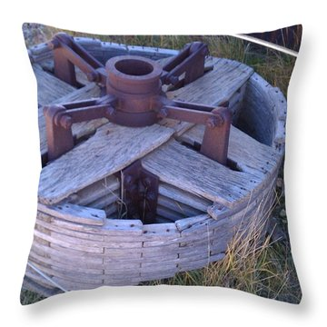 Throw Pillow featuring the photograph Gold Mine Pulley by Fortunate Findings Shirley Dickerson