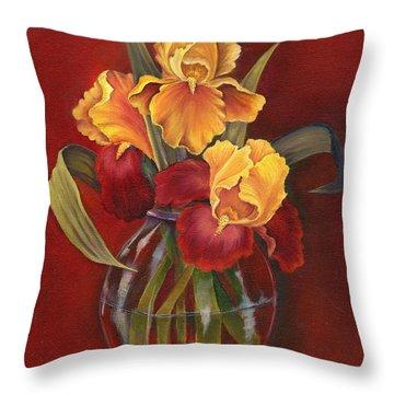 Gold N Red Iris Throw Pillow