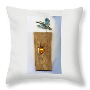 Throw Pillow featuring the sculpture Gold  Orb by Hartmut Jager
