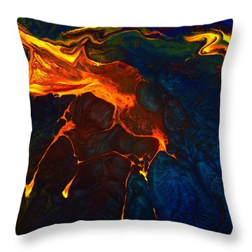 Gold Signature - Gold Orange Abstract Art By Kredart Throw Pillow