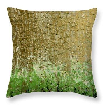 Gold Sky Green Grass Throw Pillow