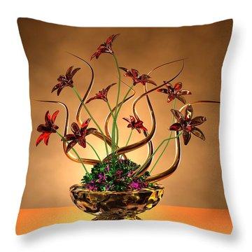 Gold Spirals Glass Flowers Throw Pillow by Louis Ferreira