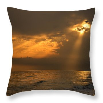 Gold Through The Clouds Throw Pillow by Guido Montanes Castillo