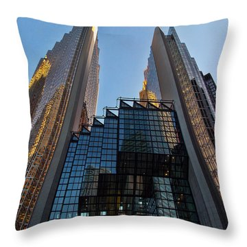 Gold Towers Throw Pillow by Nicky Jameson