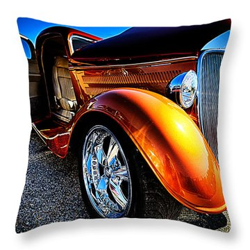 Gold Vintage Car At Car Show Throw Pillow by Danny Hooks