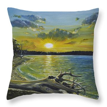 Golden Afternoon At Ketron Island Throw Pillow