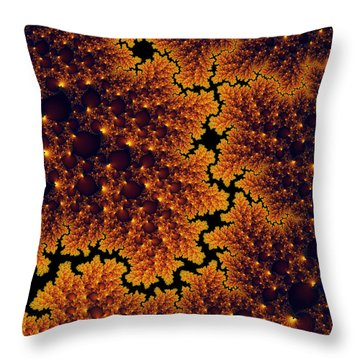 Golden And Black Fractal Universe Throw Pillow