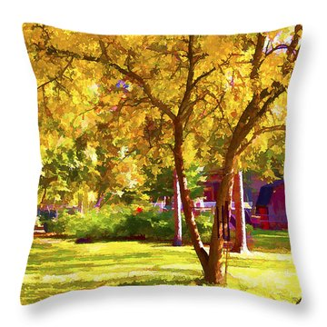 Golden Apple Tree Throw Pillow