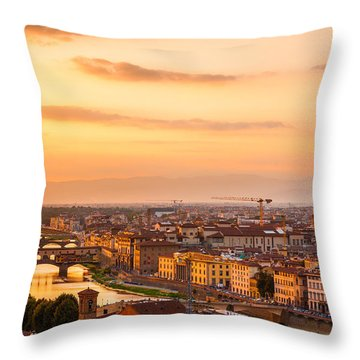 Golden Arno River Throw Pillow