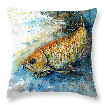 Golden Arowana Throw Pillow