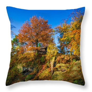 Golden Autumn On Neurathen Castle Throw Pillow