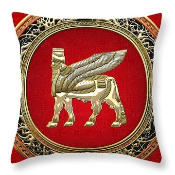 Golden Babylonian Winged Bull  Throw Pillow