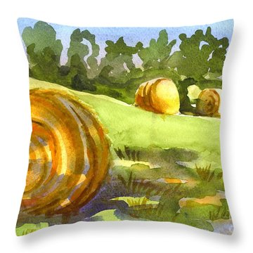 Golden Bales In The Morning Throw Pillow by Kip DeVore